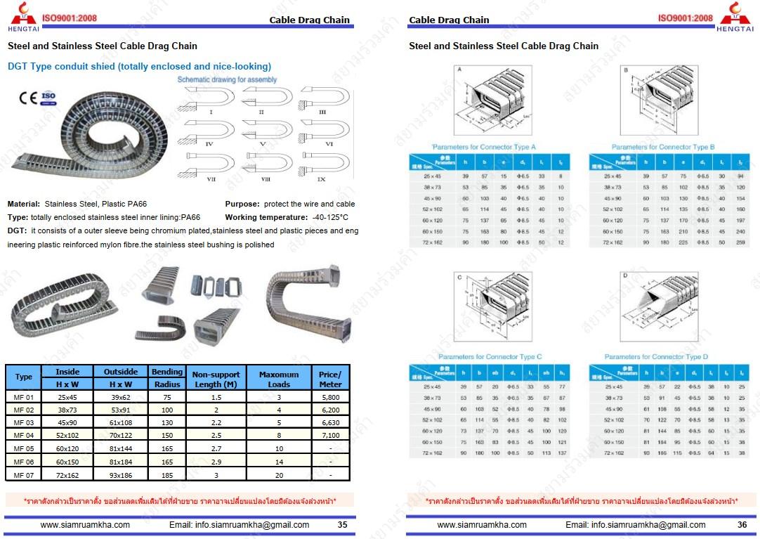 กระดูกงูDGT,รางกระดูกงู,Cable Drag Chains,JR-2 type,DGT type