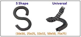 รางกระดูกงู,รางกระดูกงูพลาสติก,cable chain,cable drag chain,กระดูกงูร้อยสายไฟ,PA66